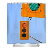 Confusing Green Red Traffic Lights Sky Copyspace Shower Curtain