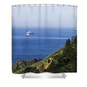 Container Ship On Open Water Shower Curtain