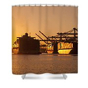 Container Ships Docked In Port Of Oakland Shower Curtain
