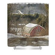 Country Road And Barn In Winter Maine Shower Curtain
