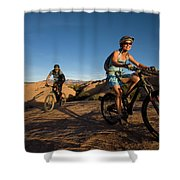 Couple Mountain Biking, Moab, Utah Shower Curtain