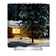 Cozy Log Cabin At Moon-lit Winter Night Shower Curtain