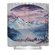 Crimson Frost Oval Shower Curtain
