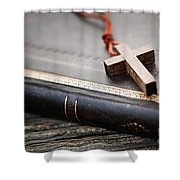 Cross On Bible Shower Curtain by Elena Elisseeva