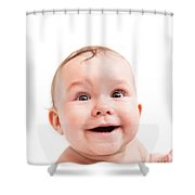Cute Happy Baby Laughing On White Shower Curtain