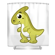 Cute Illustration Of A Parasaurolophus Shower Curtain