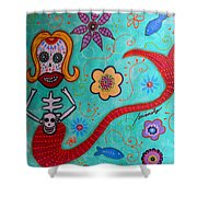 Day Of The Dead Mermaid Shower Curtain