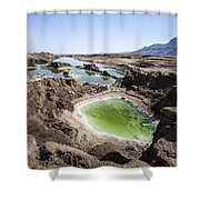 Dead Sea Sinkholes  Shower Curtain by Eyal Bartov