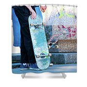 Detail Of Skateboard And Legs Shower Curtain