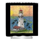 Diamond Head Lighthouse Hi Nautical Chart Map Art Shower Curtain