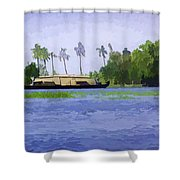 Digital Oil Painting - A Houseboat On Its Quiet Sojourn Through The Backwaters Shower Curtain