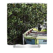 Docked By The Mangrove Trees Shower Curtain