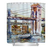 Downtown Bridge Shower Curtain