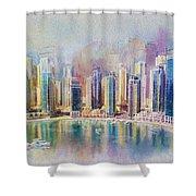 Downtown Dubai Skyline Shower Curtain
