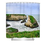 Dramatic Panoramic View Of Shark Fin Cove Shower Curtain by Jamie Pham