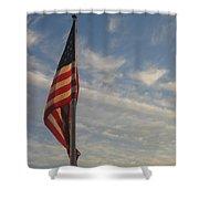 Draped American Flag Pole Dusk Casa Grande Arizona 2004 Shower Curtain