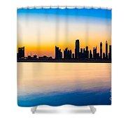 Dubai Skyline At Dusk Shower Curtain