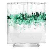 Dubai Skyline In Watercolour On White Background Shower Curtain