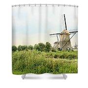 Dutch Landscape With Windmills Shower Curtain