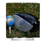 Earth Golf Ball And Golf Club Shower Curtain