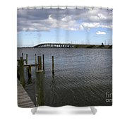 Eau Gallie Causeway Over The Indian River Lagoon At Melbourne Fl Shower Curtain