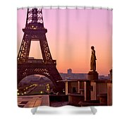 Eiffel Tower At Dawn / Paris Shower Curtain by Barry O Carroll