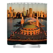 Elevated View Of The Navy Pier Shower Curtain