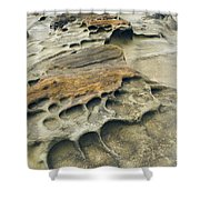 Eroded Sandstone Cliff Along The Ocean Shower Curtain