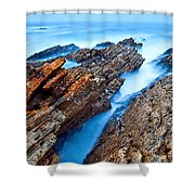 Eternal Tides - The Strange Jagged Rocks And Cliffs Of Montana De Oro State Park In California Shower Curtain