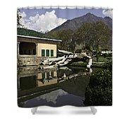 Fallen Tree In Water Pool Inside The Shalimar Garden In Srinagar Shower Curtain