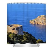 Famous Tower Of Savinar On Ibiza Island Shower Curtain