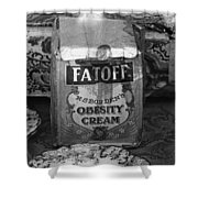 Fatoff Obesity Cream Bottled Electricity Store Window Ghost Town Virginia City Montana 1971 Shower Curtain