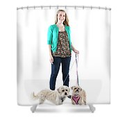 Female And Her Dogs Photographed Shower Curtain