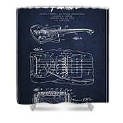 Fender Floating Tremolo Patent Drawing From 1961 - Navy Blue Shower Curtain