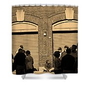 Fenway Park - Fans And Locked Gate Shower Curtain by Frank Romeo