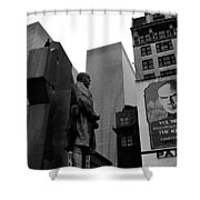 Film Homage The Fighting 69th 1940 Fr. Duffy Statue Yul Brynner Palace Theater New York 1977 Shower Curtain