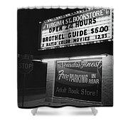 Film Noir Farewell My Lovely 1975 Brothel Guide Virginia St. Bookstore Reno Nevada 1979-2008 Shower Curtain