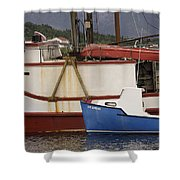 2 Fishing Boats At The Dock Shower Curtain