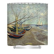 Fishing Boats On The Beach At Les Saintes-maries-de-la-mer Shower Curtain