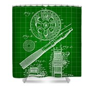 Fishing Reel Patent 1906 - Green Shower Curtain