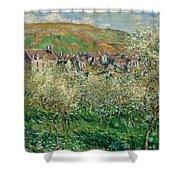 Flowering Plum Trees Shower Curtain