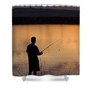 Fly Fishing At Sunset Shower Curtain