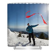 Flying A Kite On A Snowy Mountain Shower Curtain