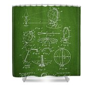 Folding School Globe Patent Drawing From 1887 Shower Curtain by Aged Pixel