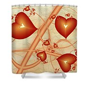 Fractal Red Hearts Shower Curtain