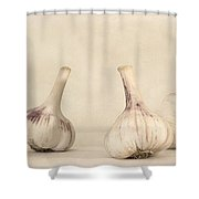 Fresh Garlic Shower Curtain by Priska Wettstein