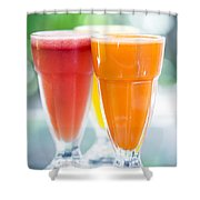 Fresh Orange Carrot And Watermelon Fruit Juice Shower Curtain