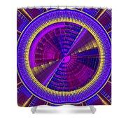 Futuristic Tech Disc Fractal Flame Shower Curtain