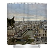 Gargoyle Overlooking Paris Shower Curtain