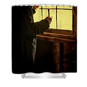 Gentleman In 18th Century Clothing With A Candle Shower Curtain by Jill Battaglia
